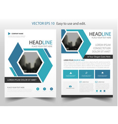 Blue abstract hexagon annual report brochure vector