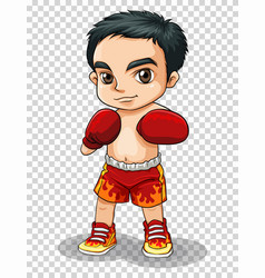 Boxer in red shorts and gloves vector