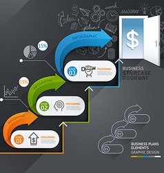 Business staircase doorway conceptual infographics vector