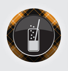 Button orange black tartan - carbonated drink vector