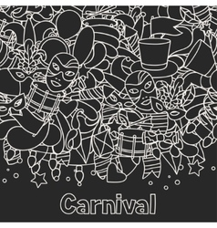 Carnival show seamless pattern with doodle icons vector image vector image