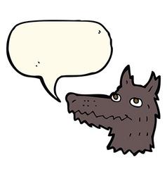 Cartoon wolf head with speech bubble vector