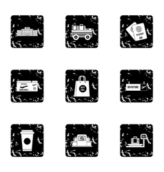 Check at airport icons set grunge style vector