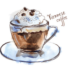 Cup of viennese coffee vector