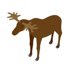Deer icon isometric 3d style vector image vector image