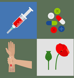 Drugs flat icons set vector