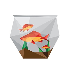 Geometric polygonal fish in bowl vector