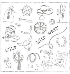 Hand drawn wild west set vector image