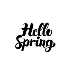 hello spring handwritten lettering vector image vector image