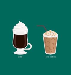 irish and iced coffee drinks cartoon vector image vector image