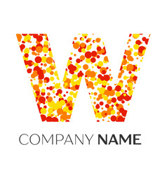 Letter w logo with orange yellow red particles vector