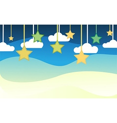 Night background with star and couldcute vector