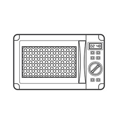 Outline black microwave oven vector
