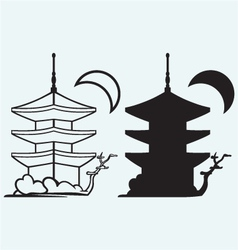 Pagoda japan architecture silhouette vector