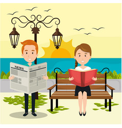 People reading on the park vector