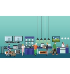 People shopping in a mall consumer electronics vector