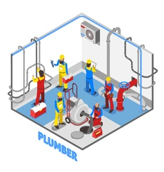 Plumber isometric people composition vector
