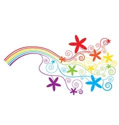 Rainbow and swirls vector