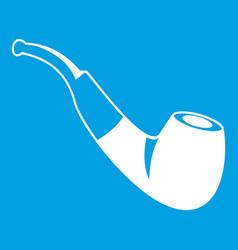 Smoking pipe icon white vector