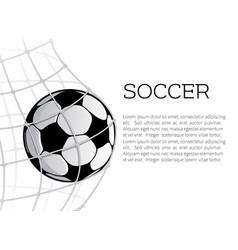 Soccer ball in net or goal design vector