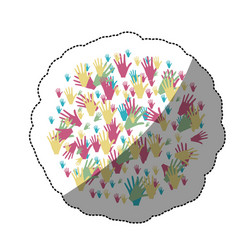 Sticker colorful circle formed by pattern of hands vector