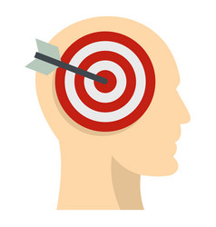 Target goal in human head icon isolated vector
