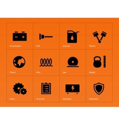 Tools icons on orange background vector image