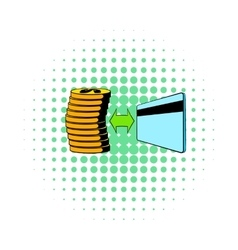 Transfer of cash to card icon comics style vector