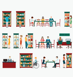 various character of people in bookstore or vector image