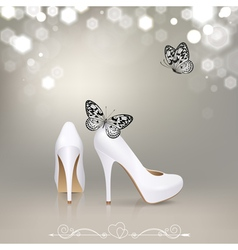 White High Heeled Shoes with Butterflies vector image vector image