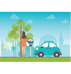 woman holding a coin for car park vector image vector image
