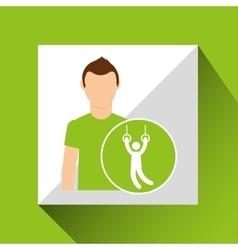 Sport man concept gymnastic still rings icon vector