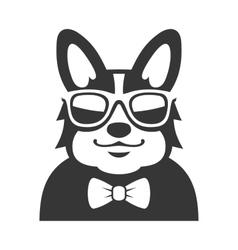 Welsh corgi pembroke wit bowtie and sunglasses vector