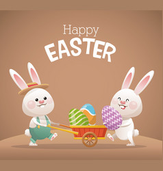 Happy easter card two bunny egg vector
