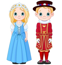 Uk boy and girl vector