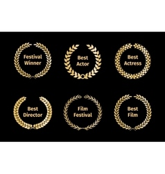 Film awards wreaths vector