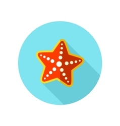 Starfish flat icon with long shadow vector