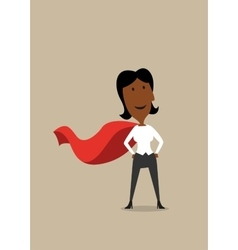 Hero cartoon businesswoman in red cape vector