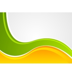 Bright green and orange wavy corporate background vector