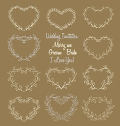 Hand drawn wreaths in heart shape frame vector
