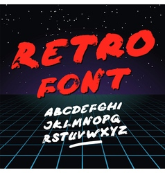Retro font on light grid background alphabet vector image