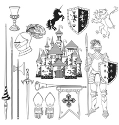 Knight monochrome icons set vector