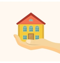 Affordable housing icon house in hand vector