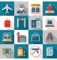 Airport service flat icons vector