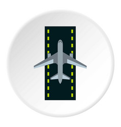 Airstrip with airplane icon circle vector
