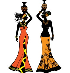Beautiful african woman with vases vector