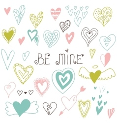 Beautiful hand drawn set of different hearts vector image vector image