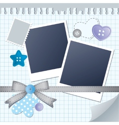 blue frame for photos vector image vector image