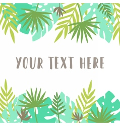 Card template tropical leafs vector