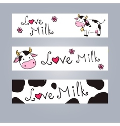 Cartoon cow web banner vector